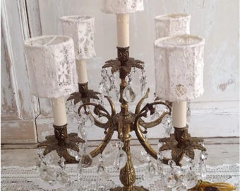 Large Antique Ornate Gold Candelabra Lamp Dripping with Crystals
