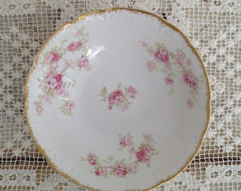 Antique Haviland Limoges France Pink Floral Bowl