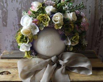 Grandmas Wardrobe Green Sitter Flower Bonnet