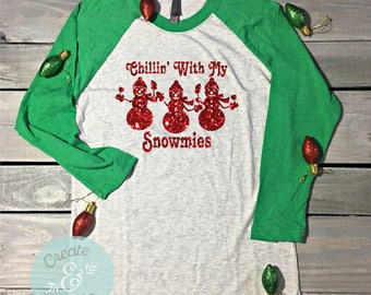 Chillin With My Snowmies Christmas Baseball Shirt, Christmas Shirts, Christmas Party, Funny Christmas Shirt, Holiday Shirt, Wine Shirt, Wine