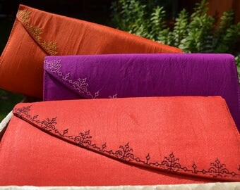 Handmade embroidered bohemian purse, Embroidered bag, Handpurse,Clutch,Pochette bag, evening boho bag,hand purse, red purple orange ethnic