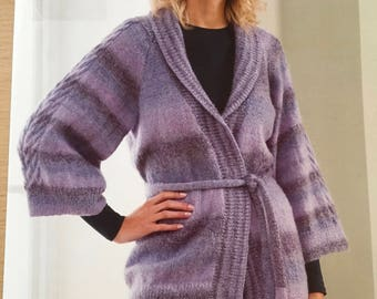 Ladies Cable Sleeve Cardigan Knitting Pattern, Stylecraft Knitting Pattern, Ladies 3/4 Sleeve Cardigan, Ladies Belted Cardigan Pattern, 8509