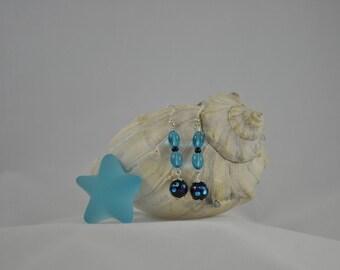 Blue earrings, Dichroic glass earrings, Dangle earrings, Silver jewelry, Dichroic jewelry