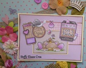 Pink bear Cignogne newborn baby girl card