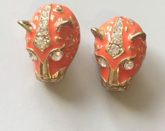Vintage Jaguar's head earrings