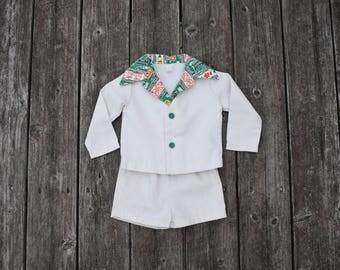 Vintage 1960s Boys Summer Suit, Size 2T // Boys Short Suit // Boys Ivory Off-White Suit // Vintage Clothes // Vintage Toddler Clothes
