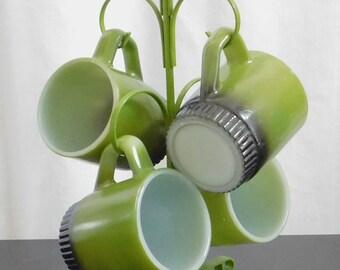Vintage Green Brown Metal Cup Tree, 4 Mug Holder, Display, Rack, Countertop Storage Organizer, Small Space, Dorm, Apartment, Decor, Retro