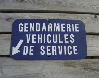 Plaque Gendarmerie Belge. Garage voiture. Vintage . Belgique