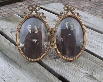 Cadre double Louis Philippe. Laiton avec photos. Vintage. France