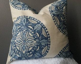 Robert Allen Blue and Ivory Designer pillow