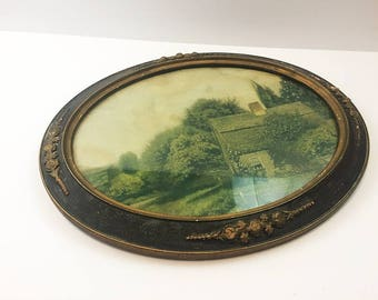 Antique Oval Frame Wood Plaster Raised Floral Pattern Old Barn Lithograph Art