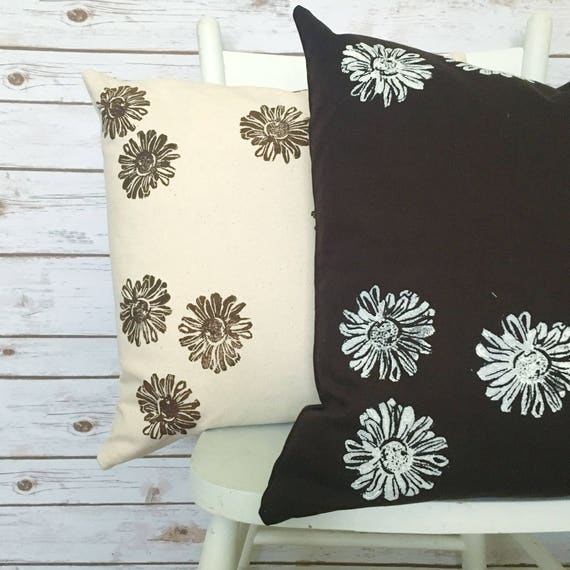 Set of two organic pillows!  Each one is unique and hand printed by me.  A rich chocolate brown and creamy natural canvas. Beautiful accent!
