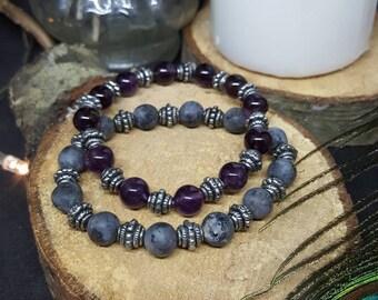 Gemstone bracelet & Silver - elastic bracelet - zen - Amethyst - labradorite - rock - Bohemian - gypsy - gemstones