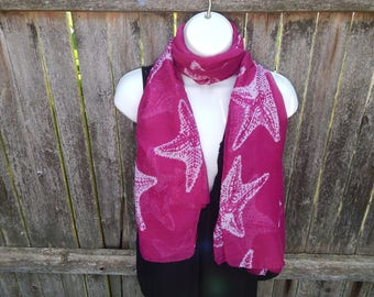 Pink / White Starfish Fashion Scarf
