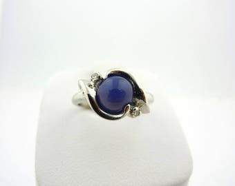 14K White Gold Blue Star Sapphire and Diamond Ring