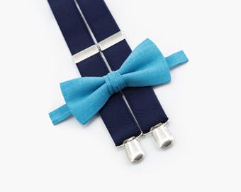 Turquoise Bow Tie And Navy Blue Suspenders Groomsmen Bow Tie and Suspenders Wedding Bowtie Ring Bearer Outfit