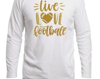 Football Mom Shirt, Football Shirt, Live Love Football, Game Day Shirt, Football Wife Shirt, Sports Tee, Football Shirts for Women