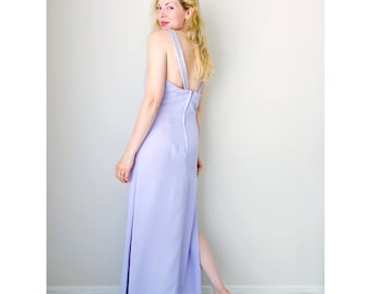 Vintage lavender dress | backless maxi dress pastel purple beaded party gown formal dress with high slits prom dress | Nadine | size medium
