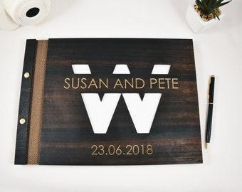 Exclusive personalized monogram wedding scrapbook memory album Wedding album Guest book photo album Wooden guest book Custom memory album