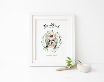 Custom Pet portrait, custom dog portrait, Watercolor dog illustration, personalized sign with dog portrait, custom dog picture, dog painting