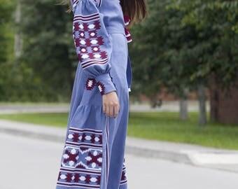 Ukrainian Linen Embroidered Dress Vyshyvanka Bohemian Style. Vyshyvanka Dress, Mexican Dress, Kaftan, Abaya. Free Shipping