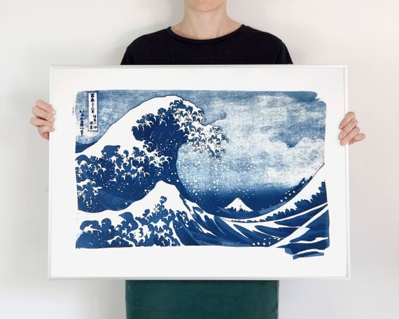 The Great Wave off Kanagawa Japanese Print by Hokusai, Cyanotype Print, 50x70cm, Wave Poster, Japan Lover, Top Selling Artwork, Asian Art