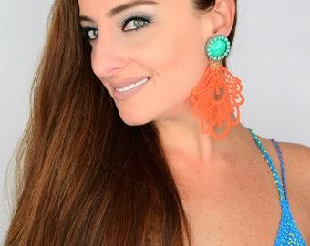 Neon Dangle Earrings, Chandelier Earrings, Long Earrings, Fashion Accessories, Handmade Earrings, Statement Earrings, Fashion Earrings