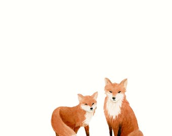 Watercolor Foxes Nursery Print - Woodland Animals - Watercolor Print