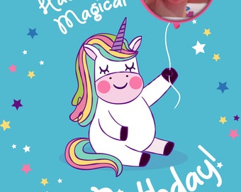 Unicorn photo personalised Birthday Greetings card with free envelope and postage!