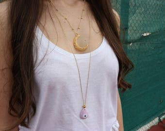 Moon Necklace, Gold Moon Necklace, Crescent Moon Pendant, Evil Eye Necklace, Evil Eye Charm, Made in Greece by Christina Christi Jewels
