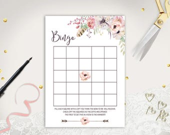 Floral Baby Shower Bingo Game Printable Baby Bingo Shower Game Boho Bingo Game Card Instant Download