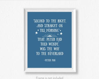 Peter Pan quote / Second star / Neverland Art / Book themed nursery / Peter Pan poster /