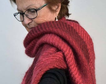 Handwoven shawl, in bright red mohair. Winter wrap, pashmina, large scarf, handwoven in flaming red mohair.