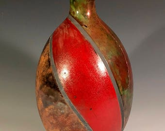 Copper and Red Striped Raku Bottle