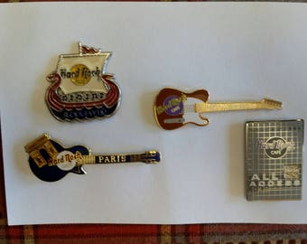 4 vintage hard rock cafe lapel / hat pins - paris - hong kong - reykjavik - all access - enamel badges tie tac red blue silver jewelry