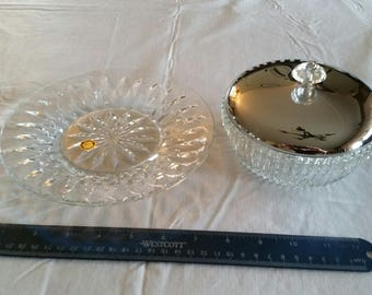 "kromex chrome lidded glass crystal bowl & princess house 7"" serving plate - covered dish ribbed lines - dip lunch candy nuts centerpiece"