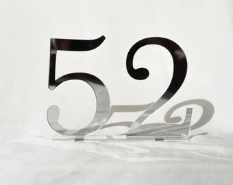 "5"" Mirror acrylic Table Numbers, Wedding Table Numbers, Wedding Table Numbers Set, Wedding Table Decor, Table Numbers,"