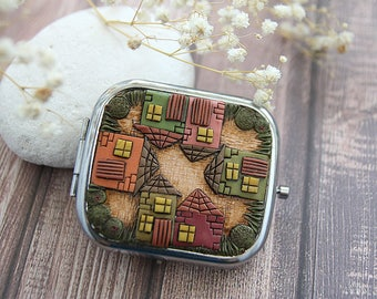 Urban girl accessory Designer mirror pocket size City style accessory Town girl gift Decorated pocket mirror Gift for women Contemporary art