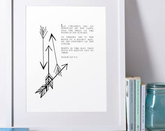 Children Are an Heritage of the Lord Print | Paleo Art | Religious Nursery | Old Testament | Psalms Proverbs | Kids Room
