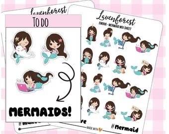 mermaid planner sticker, mermaid sticker, ocean stickers, cute stickers, stickers for Erin Condren planner, happy planner stickers, EM006