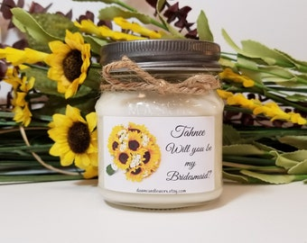 Will You Be My Bridesmaid Gift - Personalized Bridesmaid Candles - Bridesmaid Proposal - Rustic Candles - Sunflower Theme - 8oz Soy Candles