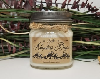 Wedding Candle - 8oz Soy Candles Handmade - Let the Adventure Begin - Engagement Gift - Wedding Gift - Graduation Gift - New Job Gift