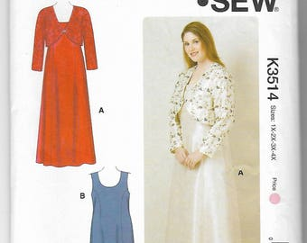 Kwik Sew K3514 Women Sizes 1x-2x-3x-4x Dresses and Jacket Sewing Pattern Uncut