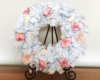 Lace Wreath, Lace Decoration, Lace Wall Decor, Wreath For Front Door, Wreath Living Room, Upcycled Flower, Recycled Flowers, Chantilly Lace