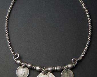 Ethnic India Silver Rupee Coin Necklace