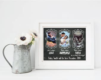 First comes love, then comes marriage, then comes baby pregnancy announcement - Digital