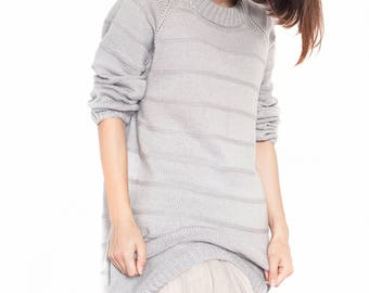 Oversized sweater long sweater Loose sweater Knitted sweater soft gray sweater Boho sweater gray pullover cozy sweater slouchy sweater dress