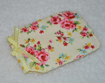 Handmade Card Holder/Oyster Card Holder - Flowers on Yellow Background