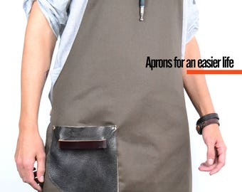 CANVAS Leather Apron-Chocolate