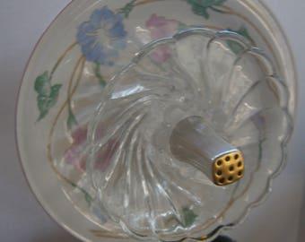 Glass Plate Flower-Garden Glass Flower Decor-Glass Plate Yard Art-Repurposed Glass Flower